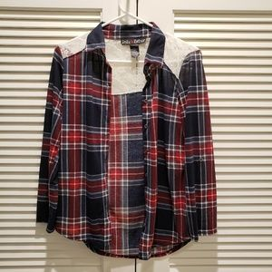Flannel and Lace Button Up Blouse